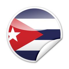 Pegatina bandera Cuba con reborde