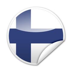 Pegatina bandera Finlandia con reborde