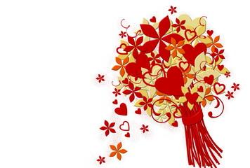Festlicher Blumenstrauß mit Herzen im weißen Htgr