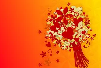 Festlicher Blumenstrauß mit Herzen