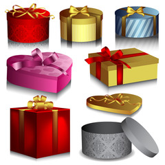 Set of nice colorful vector gift boxes