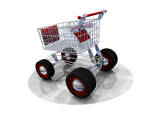 Caddie shopping rouge 3D web