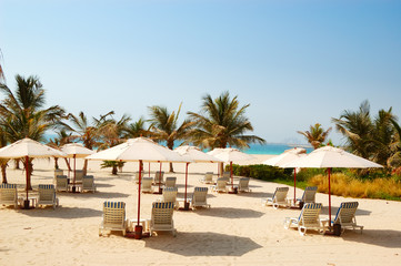 Beach of the luxury hotel, Dubai, UAE