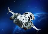 spaceship flying back