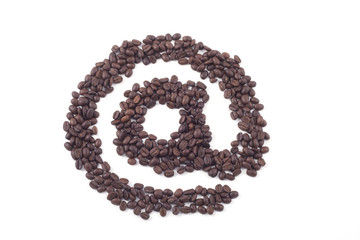 e-mail sign made out of dark roasted fair trade coffee beans