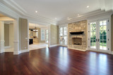 Living room with stone fireplace - 27652001