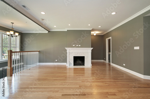 Living room with white railing