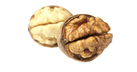 walnut nuts on white background