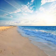 Beautiful beach shoreline in the morning