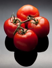 Red tomatoes on vine
