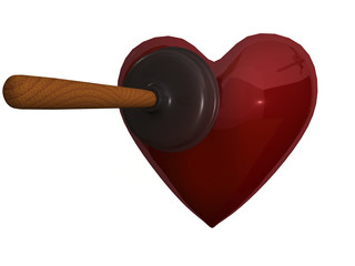 A plunger and heart