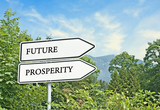 Road sign to future and prosperity poster