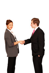 Business handshake, female looking right with copy space