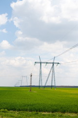 Electric power lines in a rye field