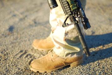 us marine - close up boots an rifle
