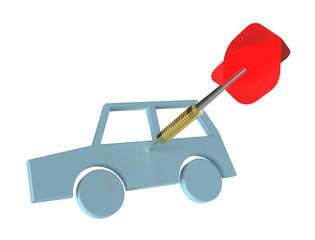 Dart on car target