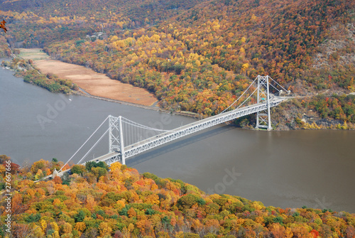 Autumn Mountain forest with bridge