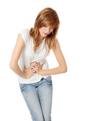 Teen woman with stomach issues