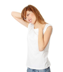 Teen student woman with neck pain