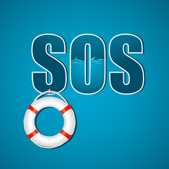 sos text with lifebuoy
