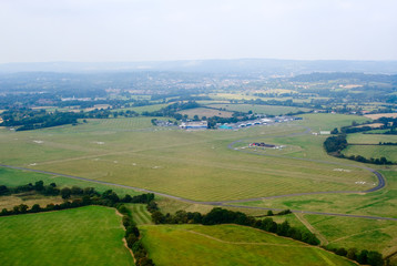 Aerial view of the grass aerodrome in England