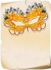 Maschera di Piume su Pergamena-Feathers Mask Background-Vector