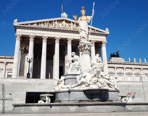 Athena statue and the Austrian parliament in Vienna