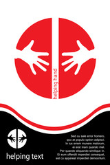 Helping hands red icon and template with space for text