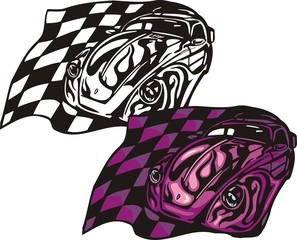 The violet car with a finishing flag. Flaming hotrods.