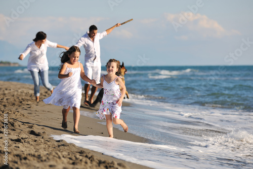 Poster happy family playing with dog on beach