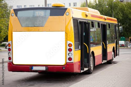 Blank billboard on back of bus - 27674495