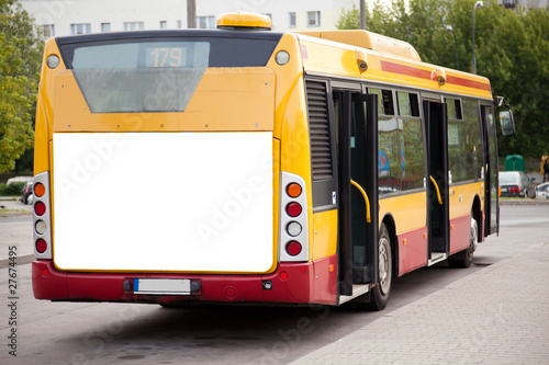 Leinwanddruck Bild Blank billboard on back of bus