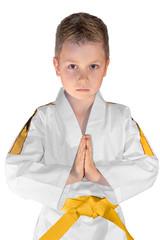 Junge im Kampfanzug - Hände gefaltet