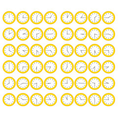 Yellow Clocks Showing All 12 Hours at 15 Minute Intervals