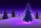 Stock image of Christmas tree with colorful lights in ice desert poster