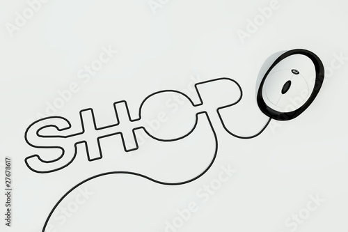 shop written with computer mouse wire