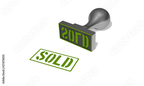 sold stamp green
