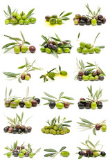 collection of olives on white background