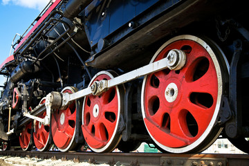 Wheels of steam locomotive