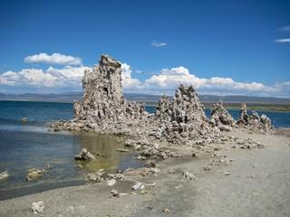 Row of tufa formations in Mono Lake Tufa State Nature Reserve