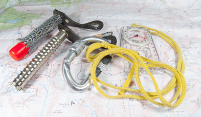 ice climbing gear on map