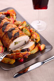 Roast pork with sage and thyme sauteed potatoes and spiced apple
