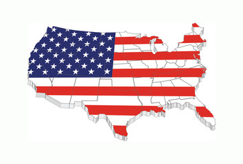 Usa 3D flag map with states