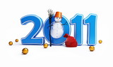 snow men new year 2011 and Christmas ball