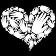 Corazón de manos blanco