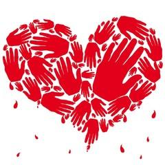 Corazón de manos rojo con sangre