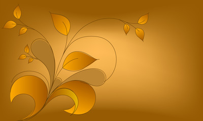 Elegant vector autumn leaves illustration