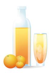 Verre et bouteille de jus d'oranges sur fond blanc