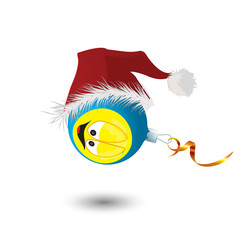 New Year's toy in a cap of Santa Claus. Vector illustration