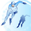 Stylized illustration of skater on a blue background